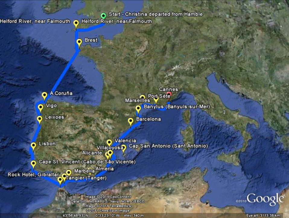 Christina's May 1960 voyage - view of the journey on Google Earth