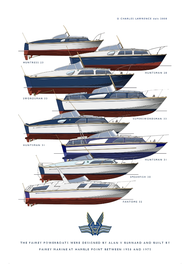 Fairey Powerboats desinged by Alan V Burnard and built by Fairey Marine at Hamble point between 1958 and 1975 - courtesy of Charles Lawrence